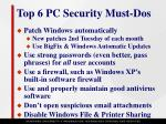 top 6 pc security must dos