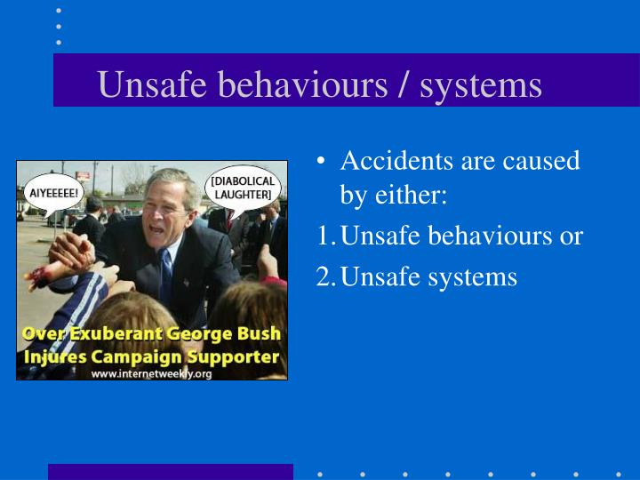 Unsafe behaviours / systems
