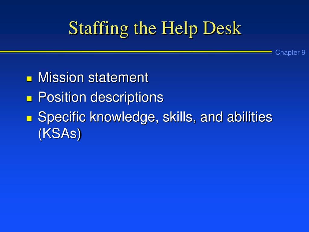 Staffing the Help Desk