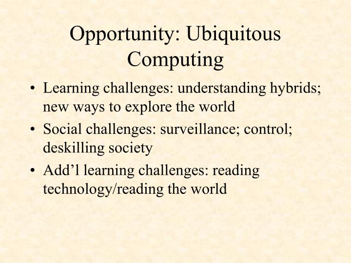 Opportunity: Ubiquitous Computing