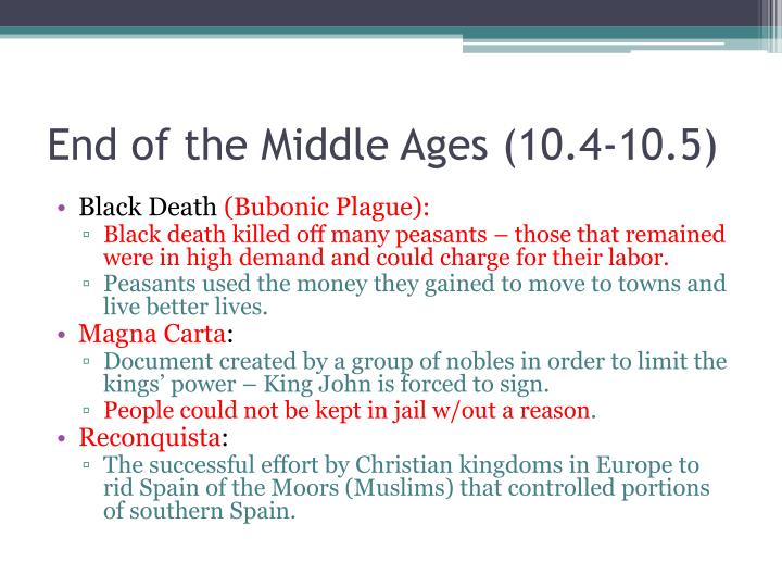 End of the middle ages 10 4 10 5