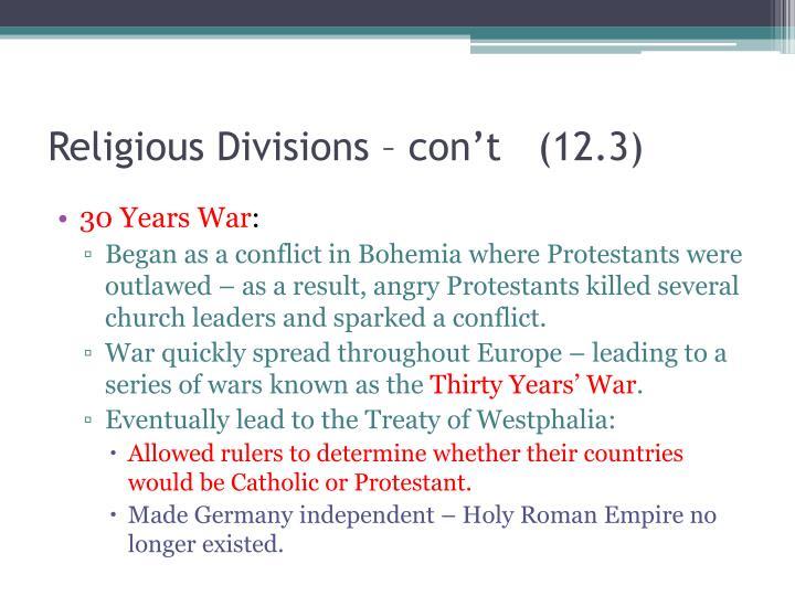 Religious Divisions –