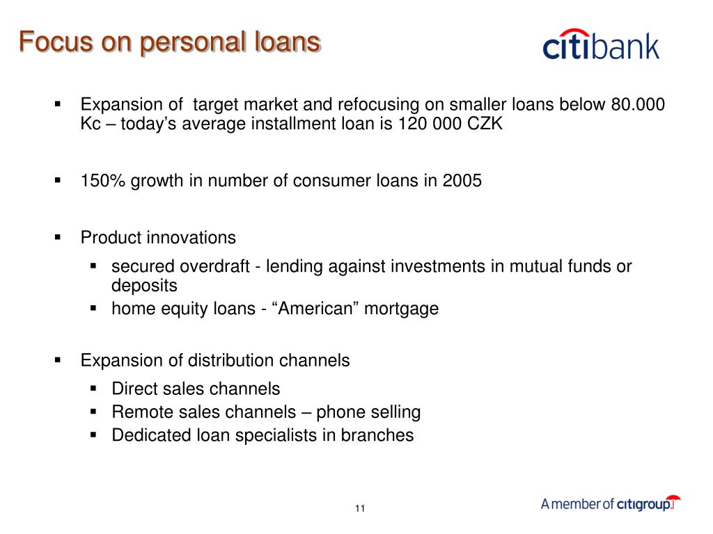 Focus on personal loans