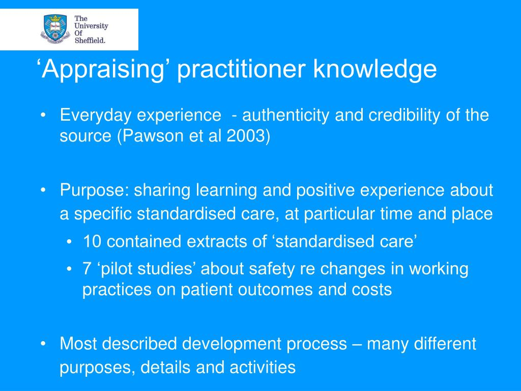 'Appraising' practitioner knowledge