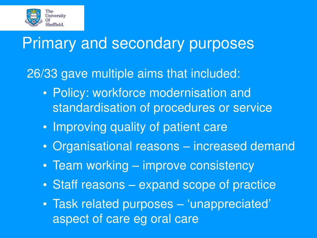 Primary and secondary purposes