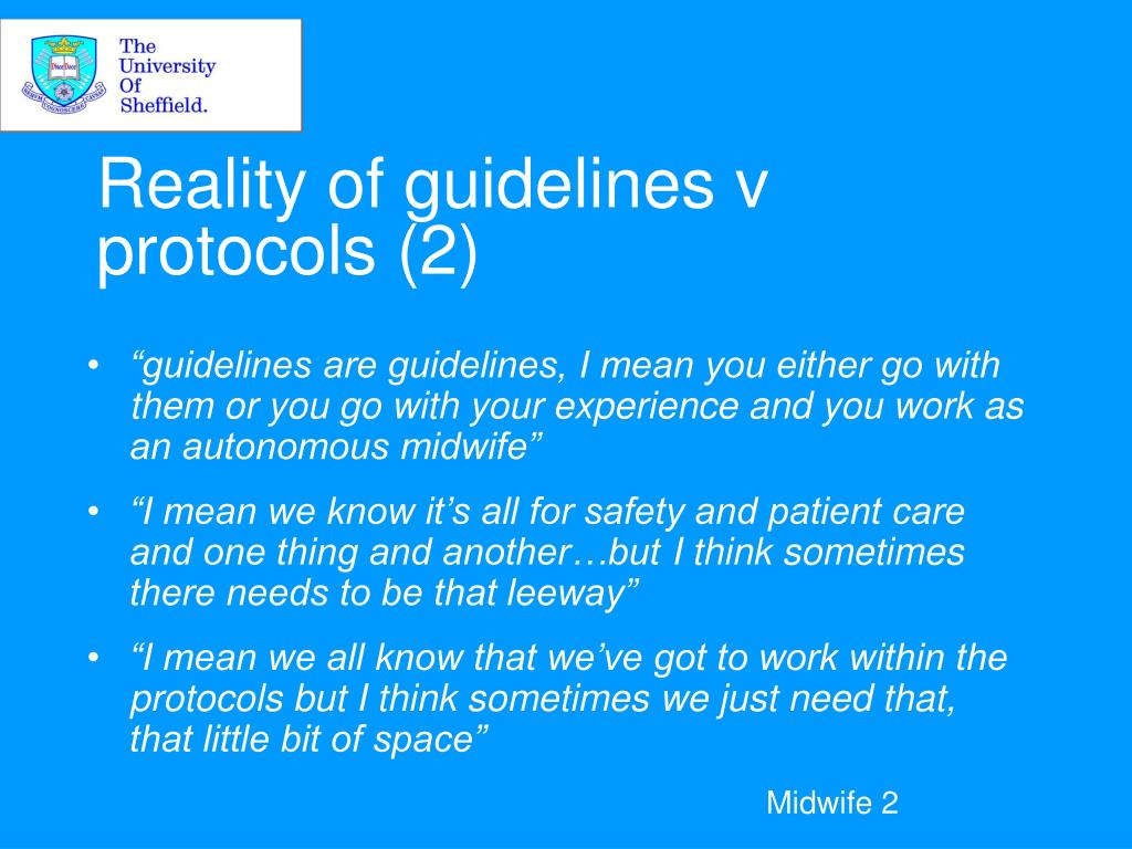 Reality of guidelines v protocols (2)