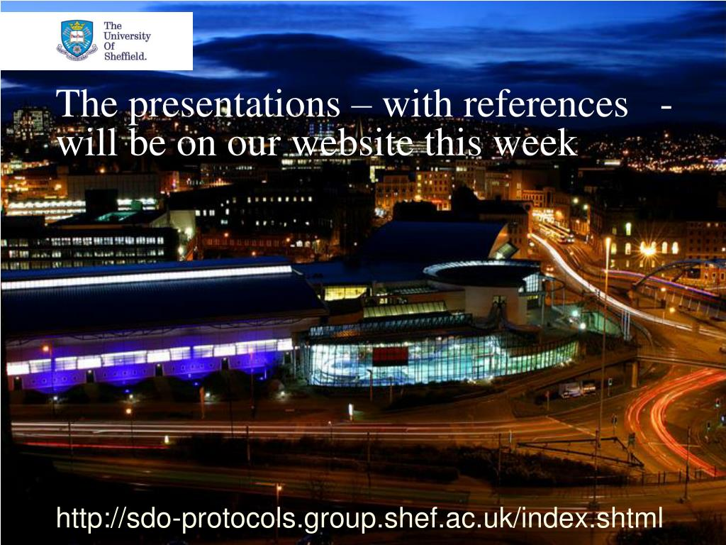 The presentations – with references   - will be on our website this week
