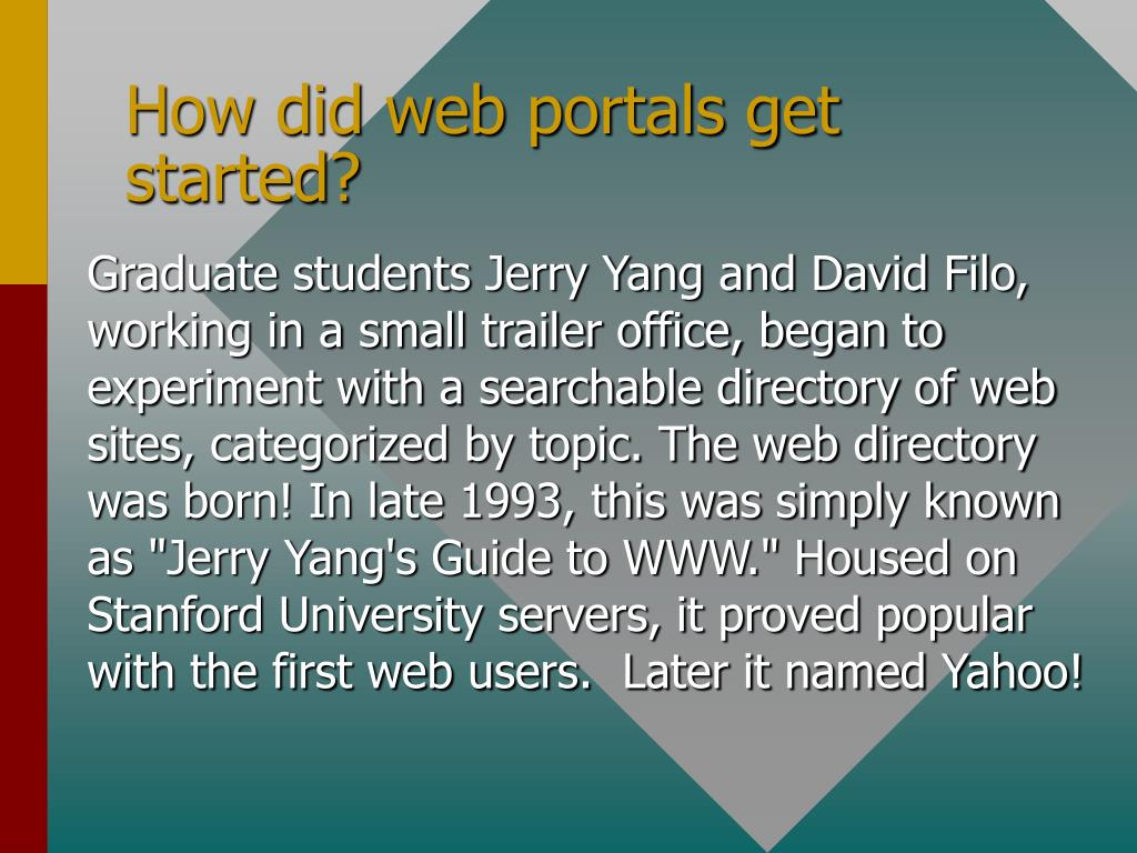 How did web portals get started?