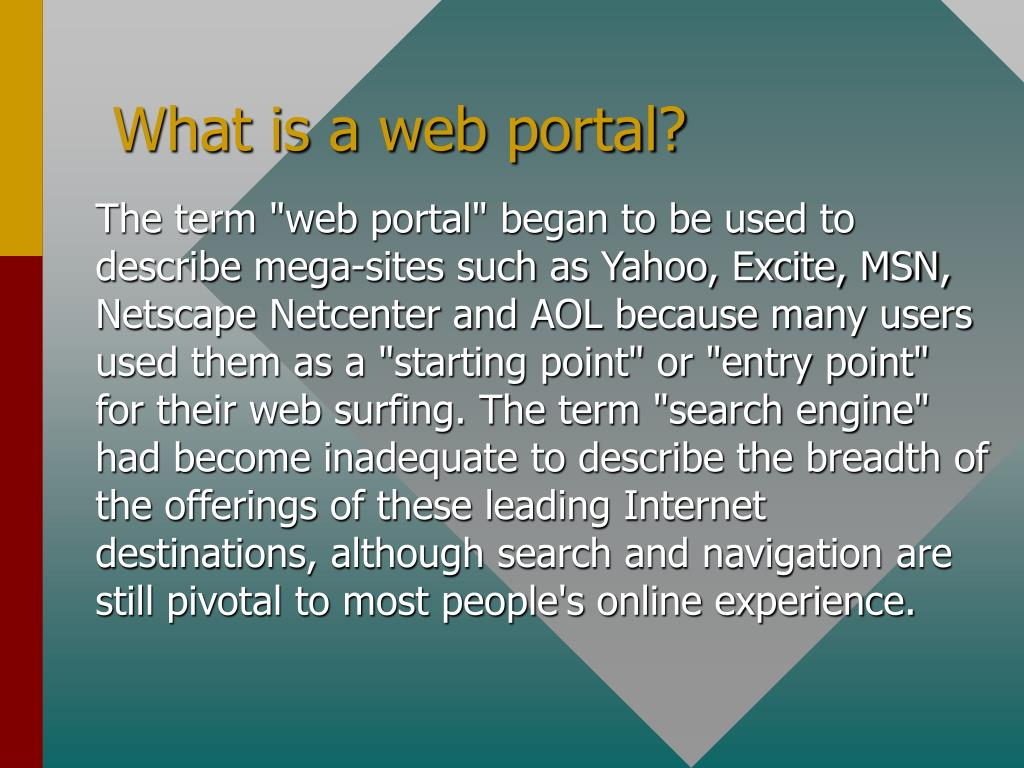 What is a web portal?