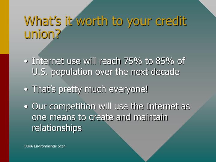 What s it worth to your credit union