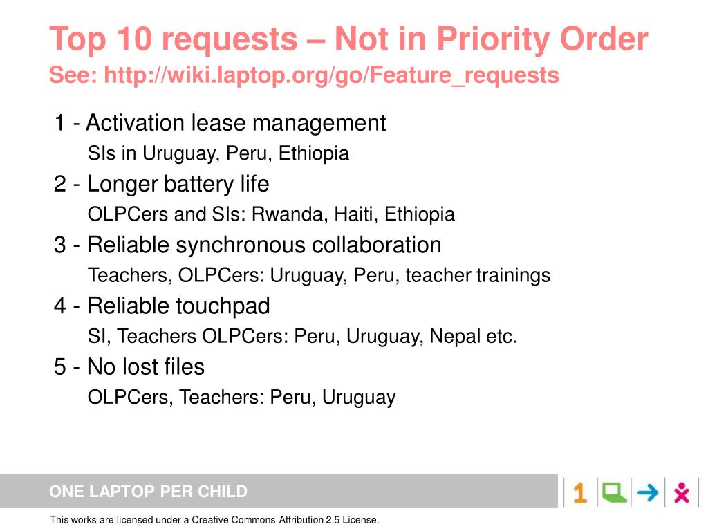 Top 10 requests – Not in Priority Order