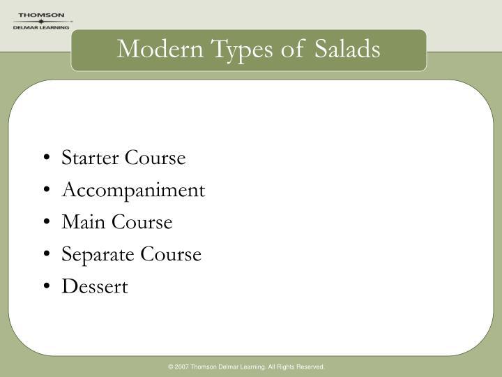 Modern types of salads