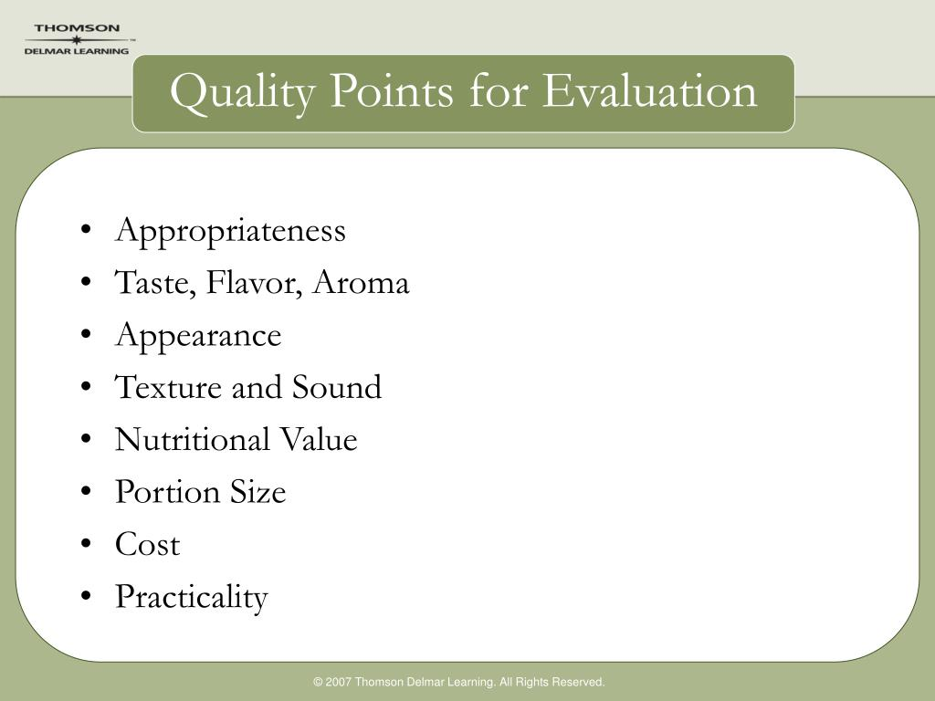 Quality Points for Evaluation