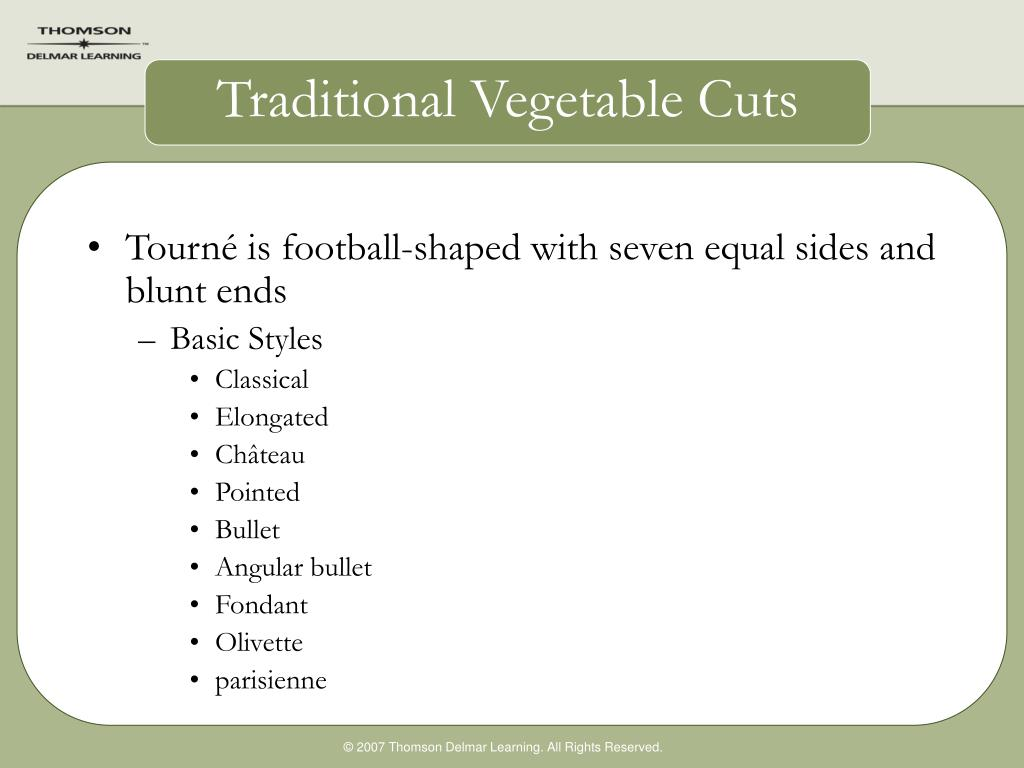 Traditional Vegetable Cuts