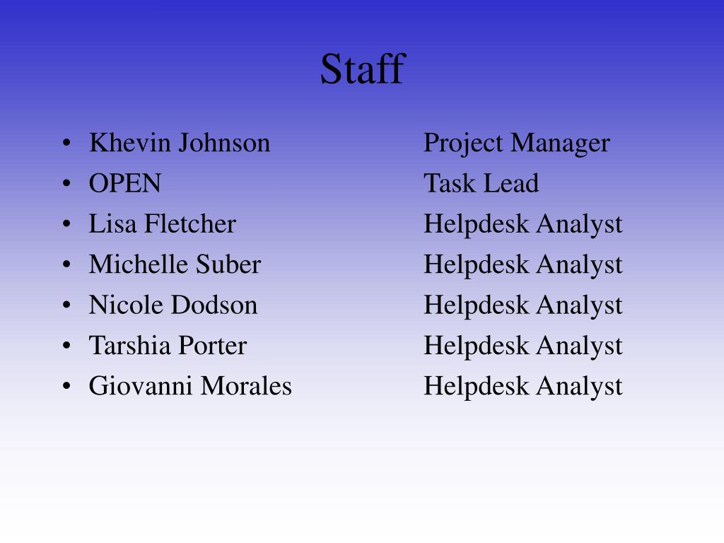 Khevin Johnson			Project Manager