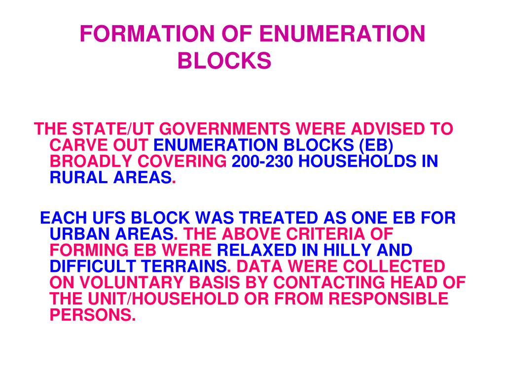 FORMATION OF ENUMERATION BLOCKS