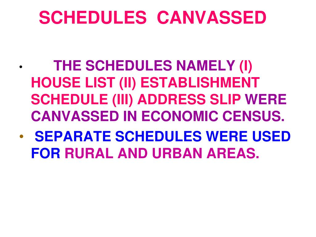 SCHEDULES  CANVASSED