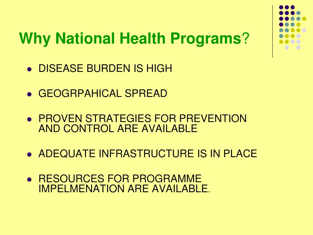 Why National Health Programs
