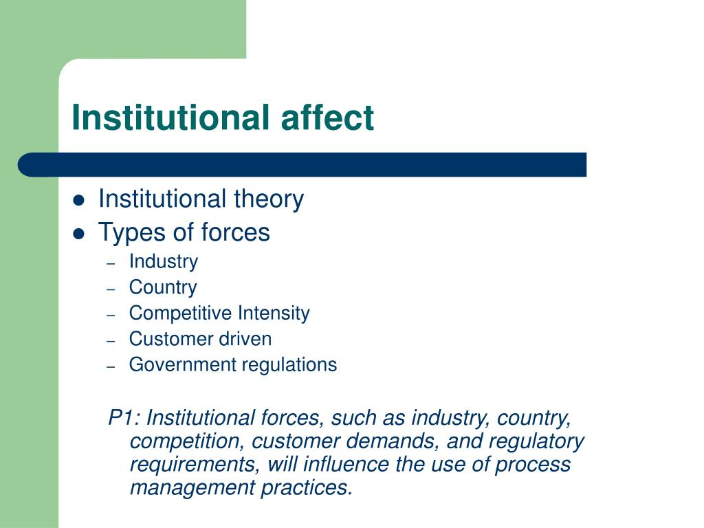 Institutional affect