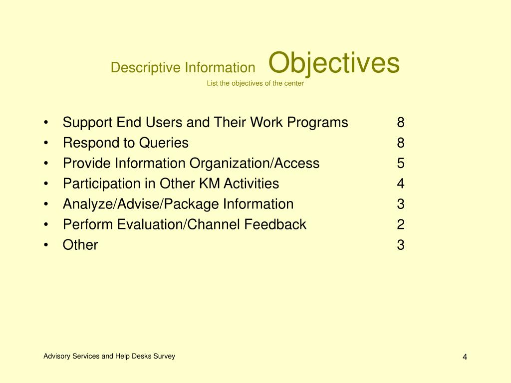 Support End Users and Their Work Programs
