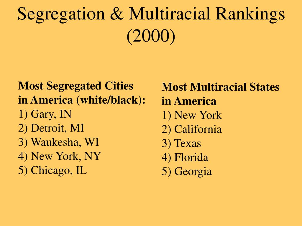 Segregation & Multiracial Rankings (2000)