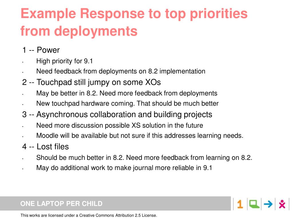 Example Response to top priorities from deployments