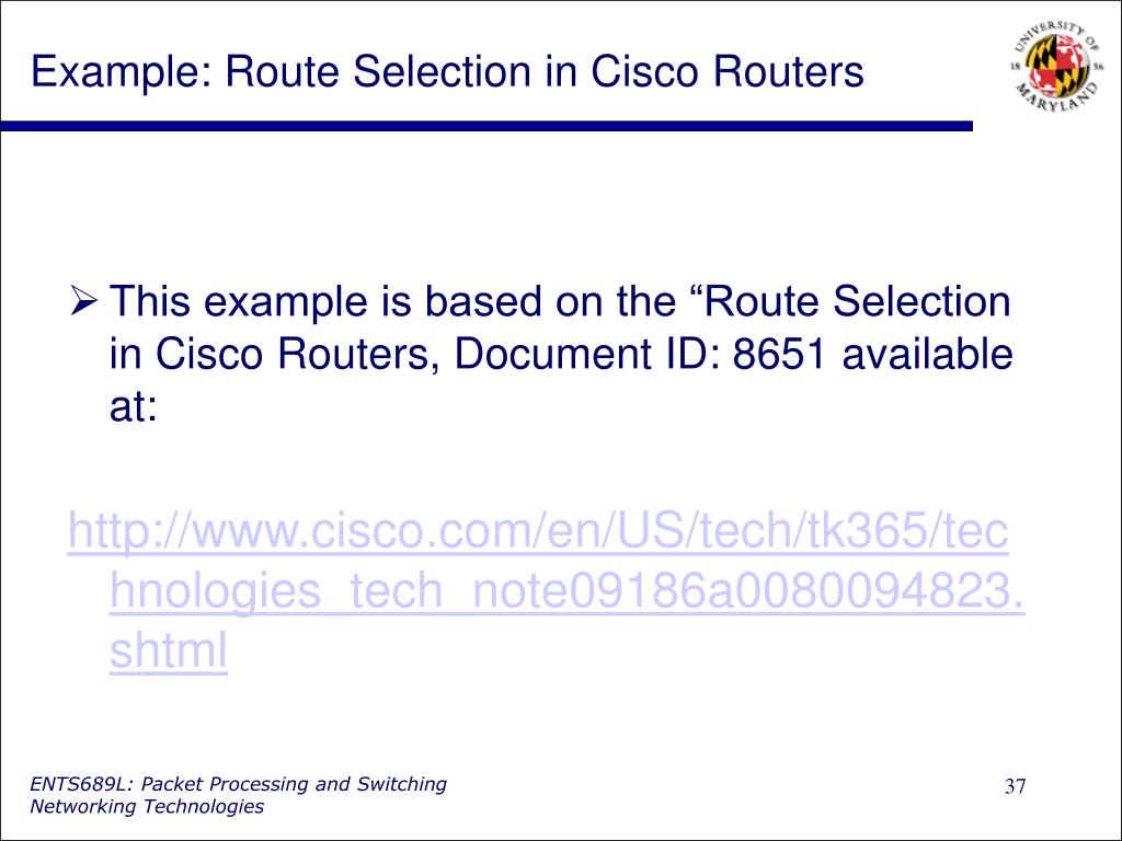 Example: Route Selection in Cisco Routers