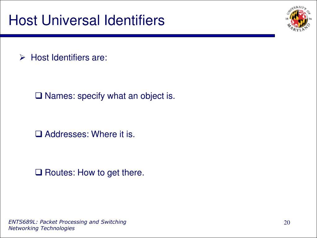 Host Universal Identifiers