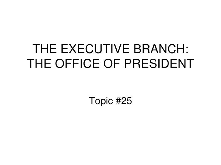 the executive branch the office of president n.