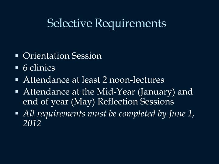 Selective Requirements