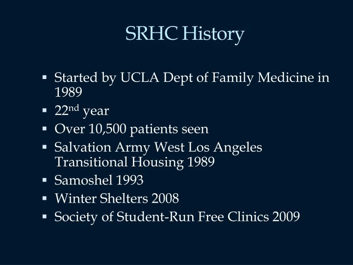 Srhc history