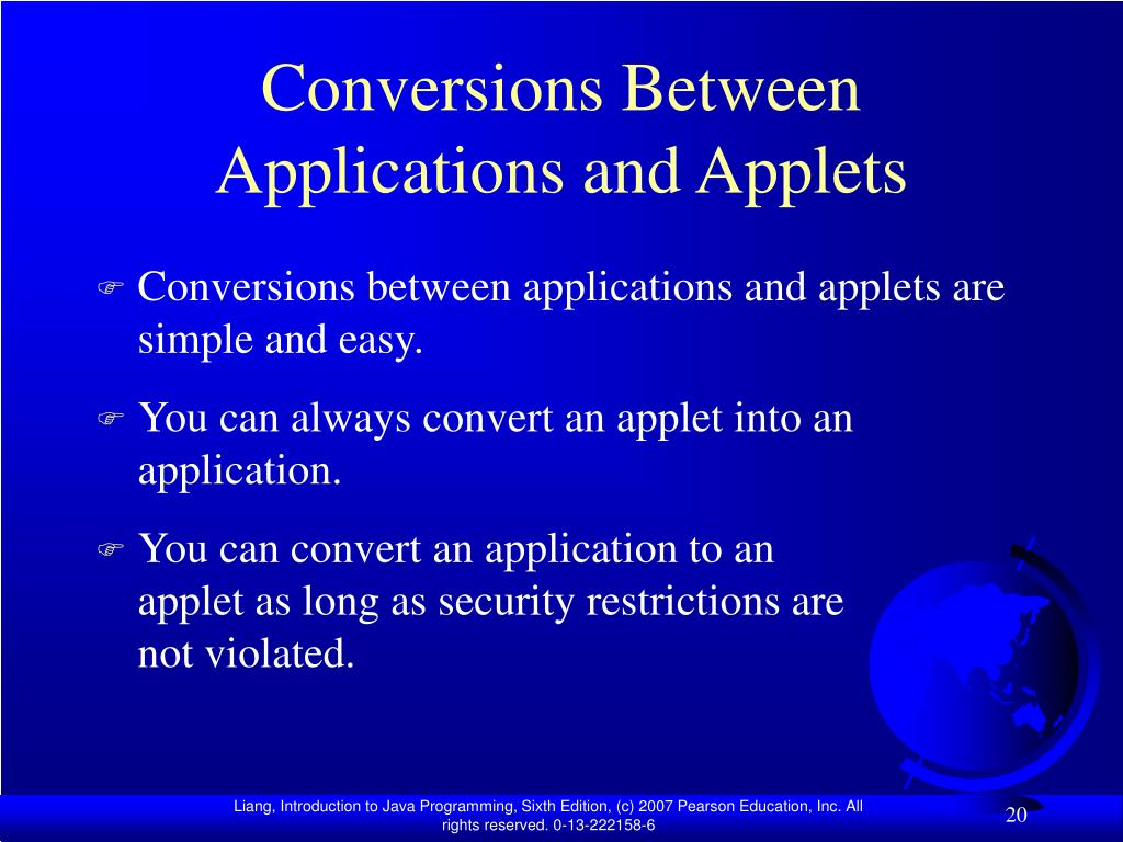 Conversions Between Applications and Applets
