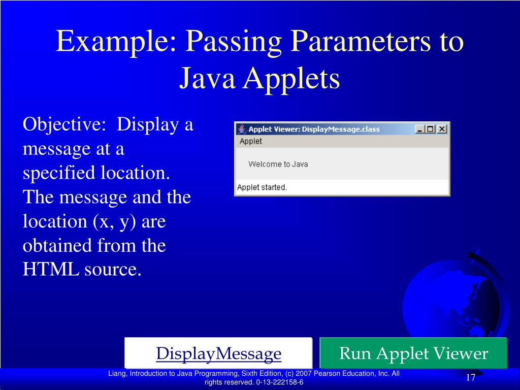 Example: Passing Parameters to Java Applets