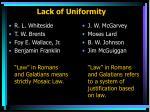 lack of uniformity