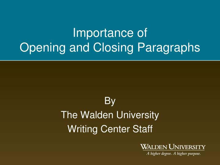 By the walden university writing center staff