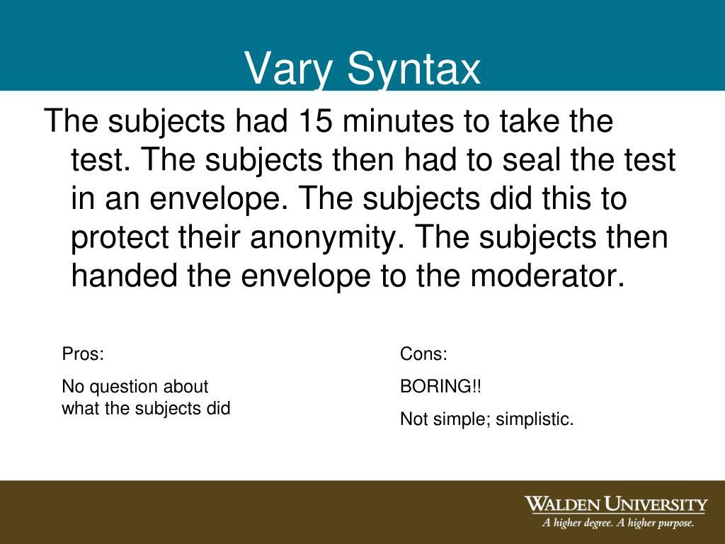 Vary Syntax
