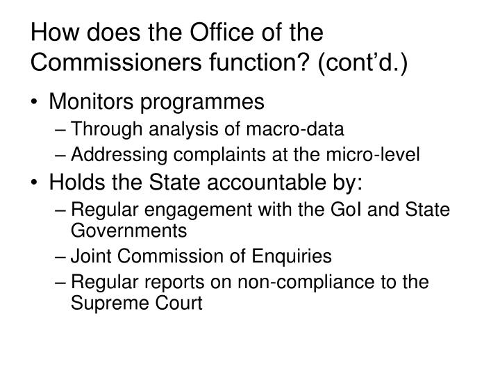 How does the Office of the Commissioners function? (cont'd.)
