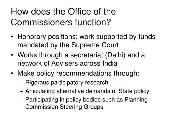How does the Office of the Commissioners function?