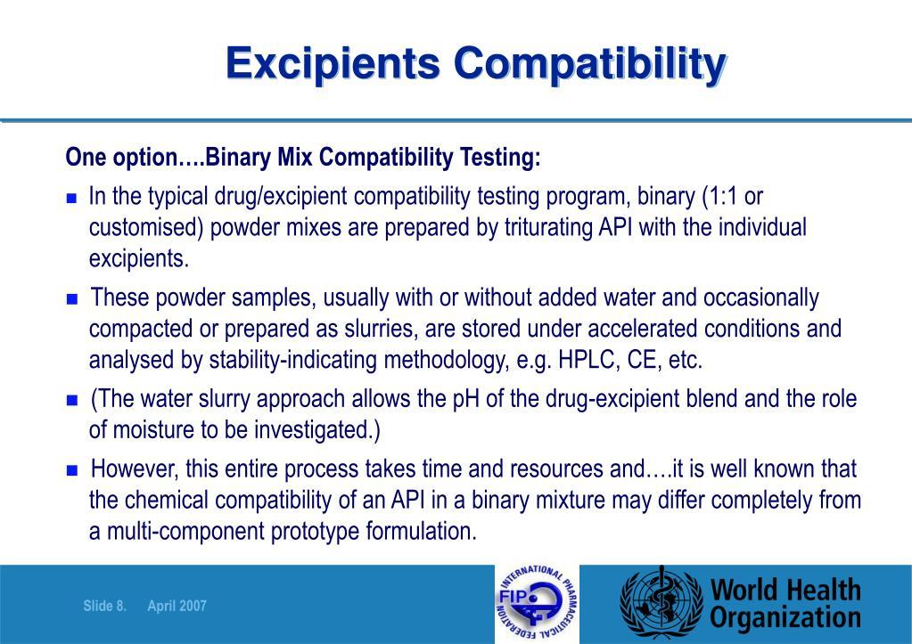 Excipients Compatibility