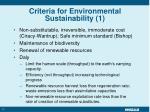 criteria for environmental sustainability 1