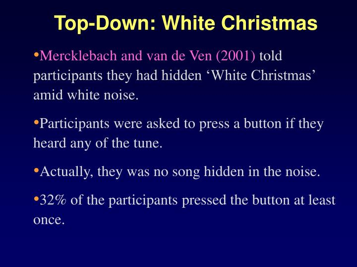Top-Down: White Christmas