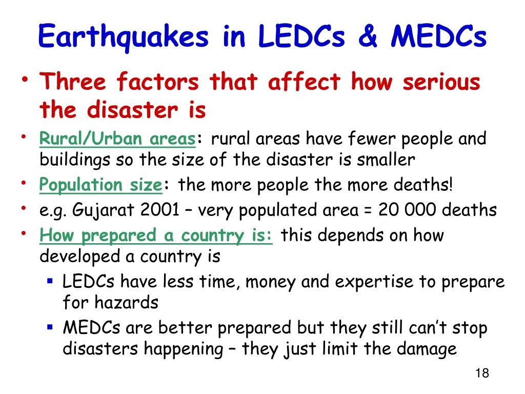 impacts of earthquakes in ledc and medc countries