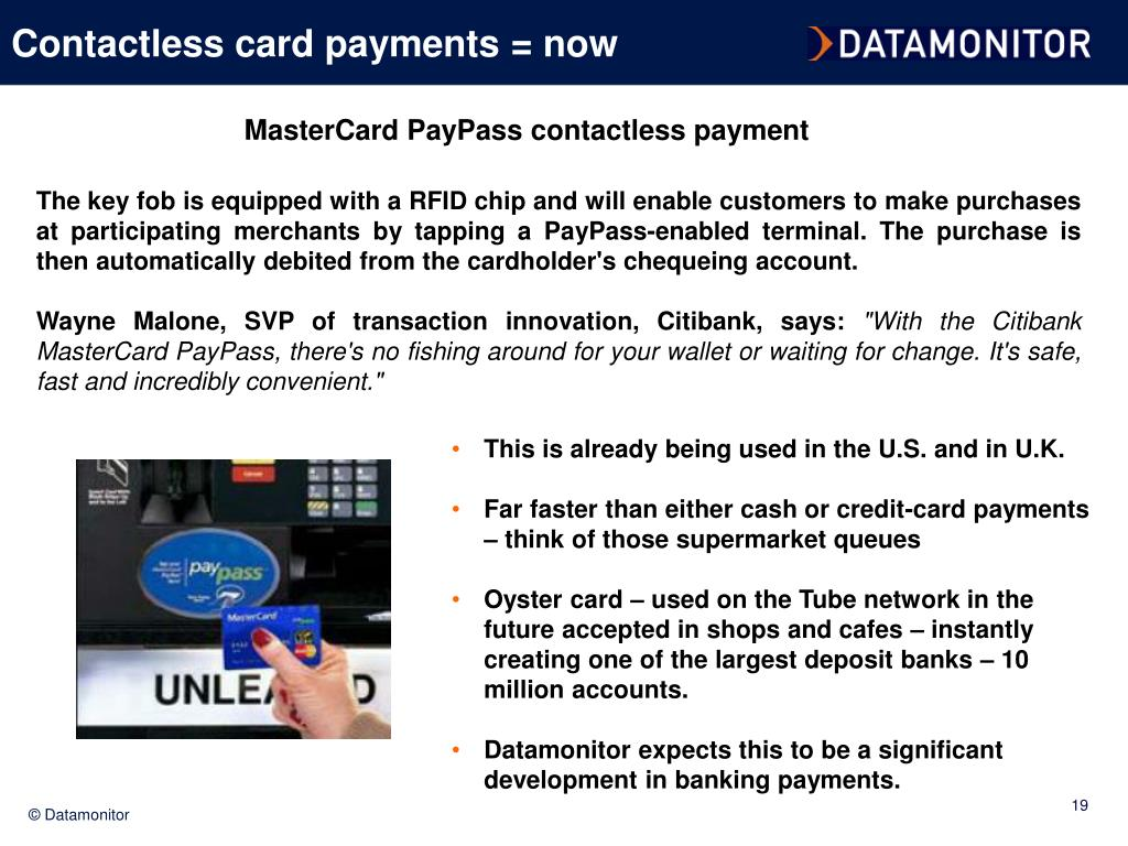 Contactless card payments = now