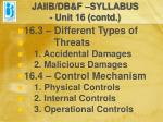 jaiib db f syllabus unit 16 contd