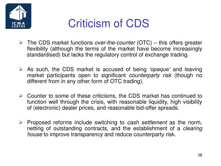 Criticism of CDS