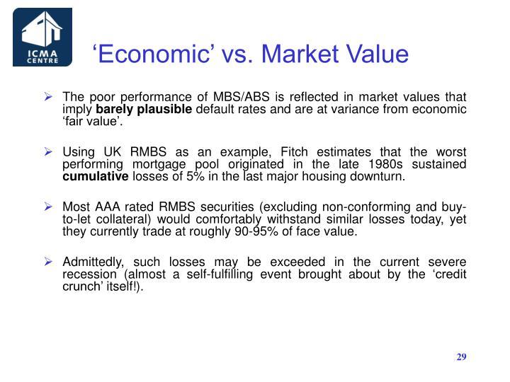 'Economic' vs. Market Value