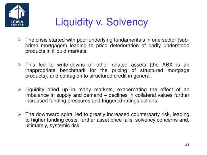 Liquidity v. Solvency