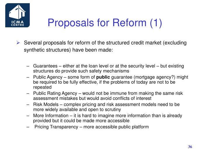Proposals for Reform (1)