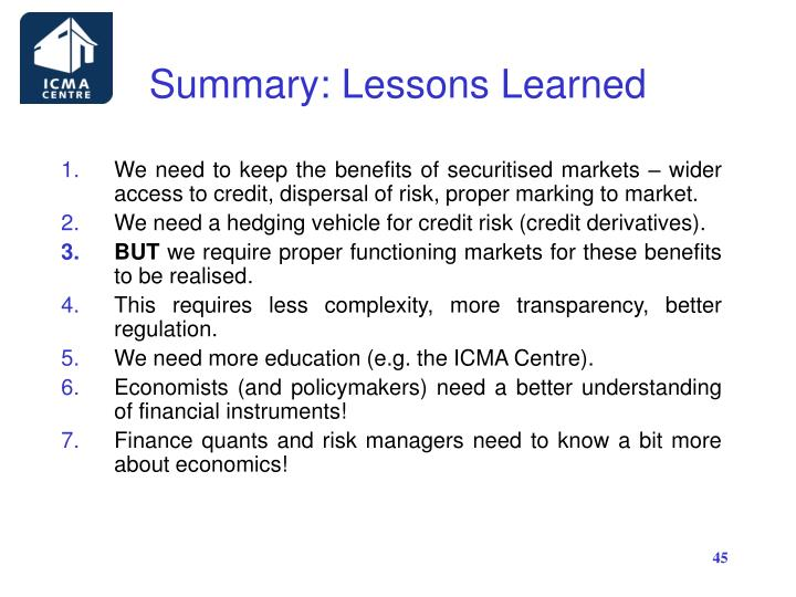 Summary: Lessons Learned