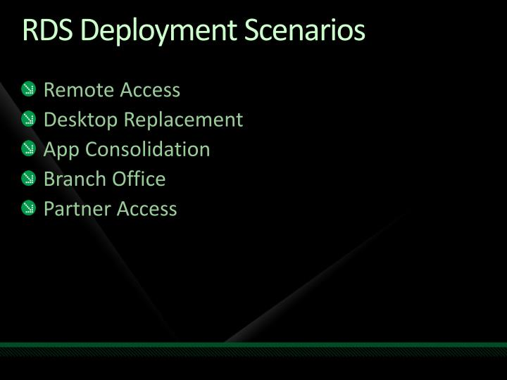 RDS Deployment Scenarios